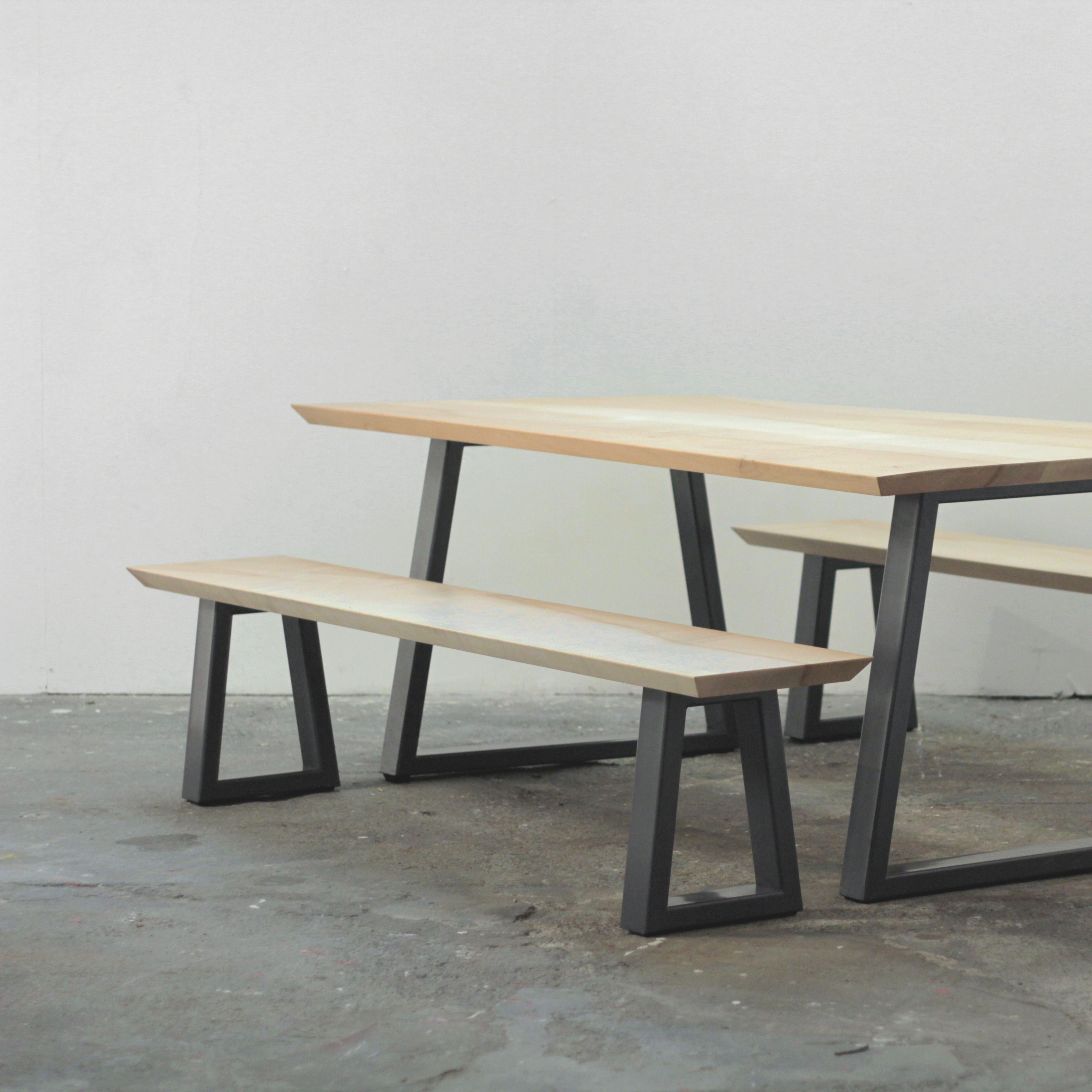 Wood And Steel Dining Table And Bench Set In 2020 Table Bench