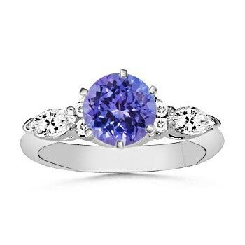 Angara Round Sapphire Past Present Future Engagement Ring 2jTJLbmyZn