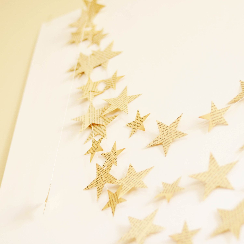 Paper Garlands, Recycled vintage paper wedding decor, Paper Star Garland. $15.00, via Etsy.