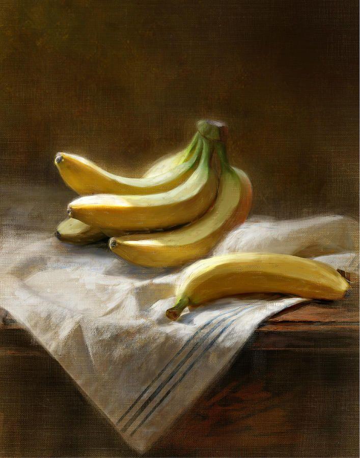 Bananas On White By Robert Papp Owoce Malarstwo I Martwa Natura