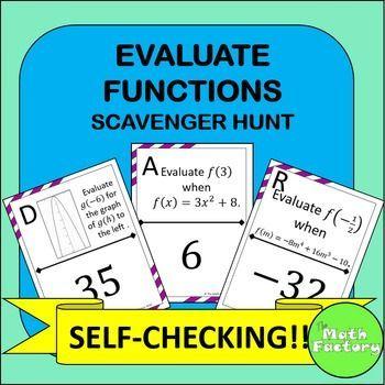 Evaluating Functions Scavenger Hunt Activity   Worksheets, Equation ...
