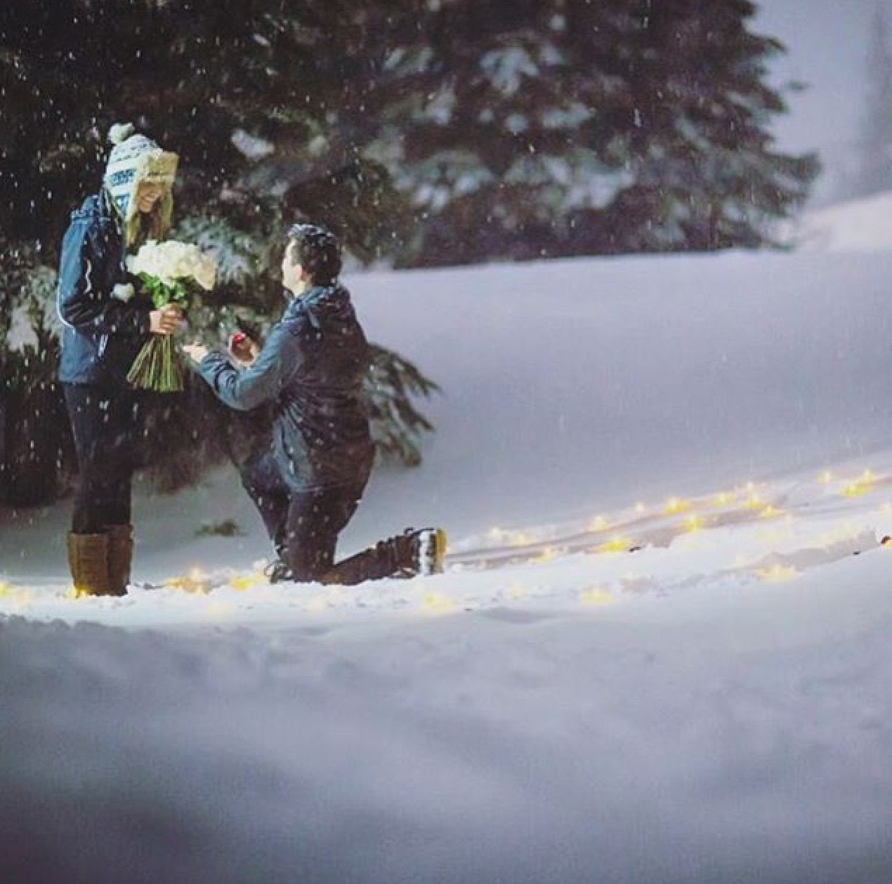 candles in the snow proposal | proposals in 2018 | proposal, wedding