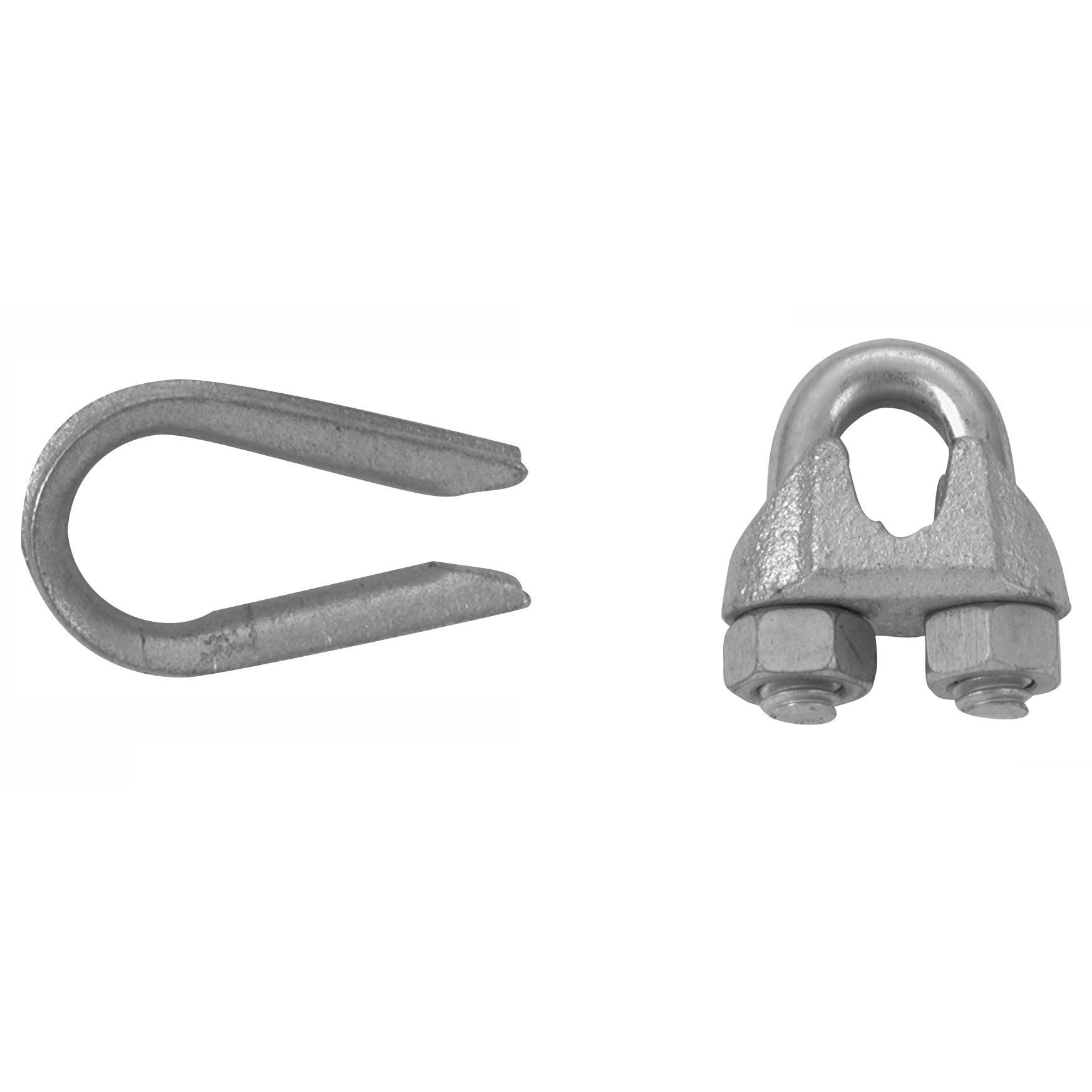 Campbell B7675129 1/4 Wire Rope Clips and Thimble 3-pc Set (Hardware ...