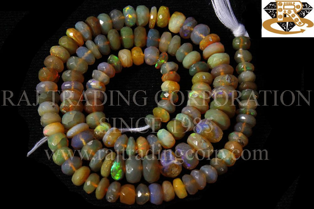 Ethiopian Opal Faceted Roundel (Quality B+) Shape: Roundel Faceted Length: 36 cm Weight Approx: 9 to 11 Grms. Size Approx: 4.5 to 5.5 mm Price $66.00 Each Strand