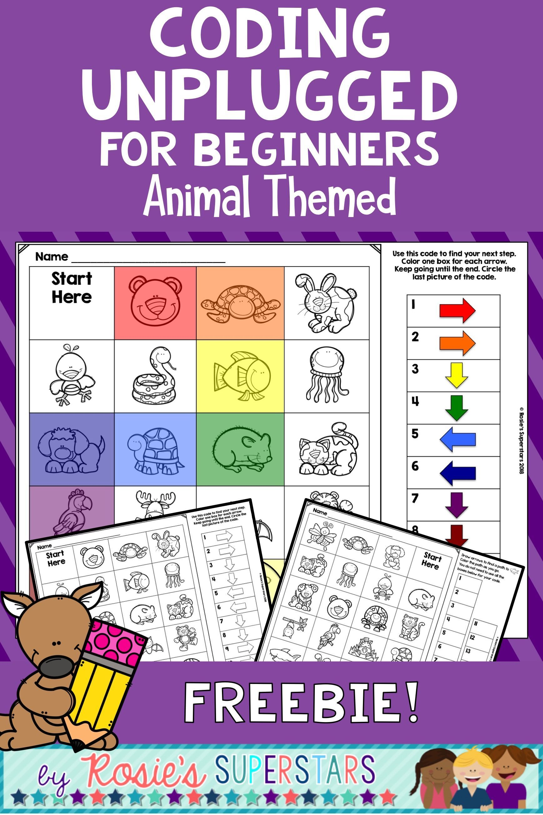 Animal Themed Unplugged Coding For Beginners Freebie Unplugged Coding Activities Teaching Coding Coding For Kids
