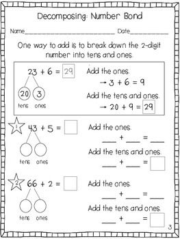 Two-Digit Addition Strategies Practice Sheets | First Grade | Engage ...