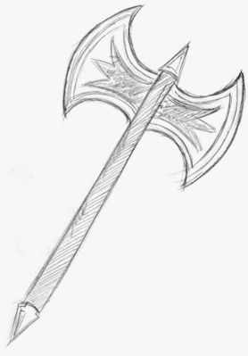 Double Bladed Battle Axe Drawing Jpg 278 399 With Images Axe