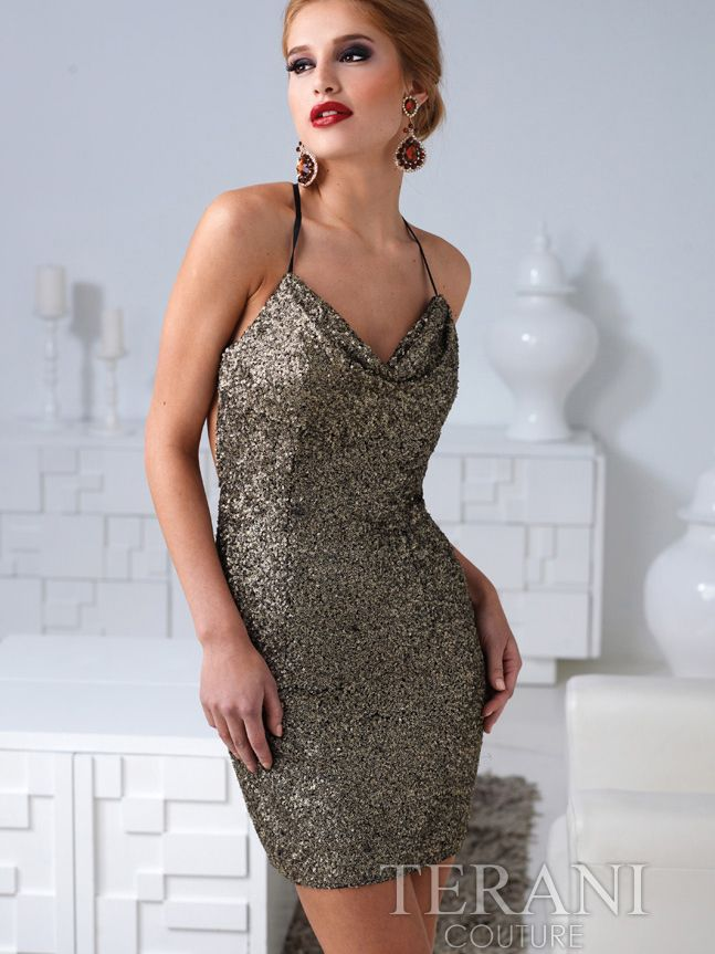 Sequin Open Back Cocktail Dress By Terani | Sung Boutique L.A. ...