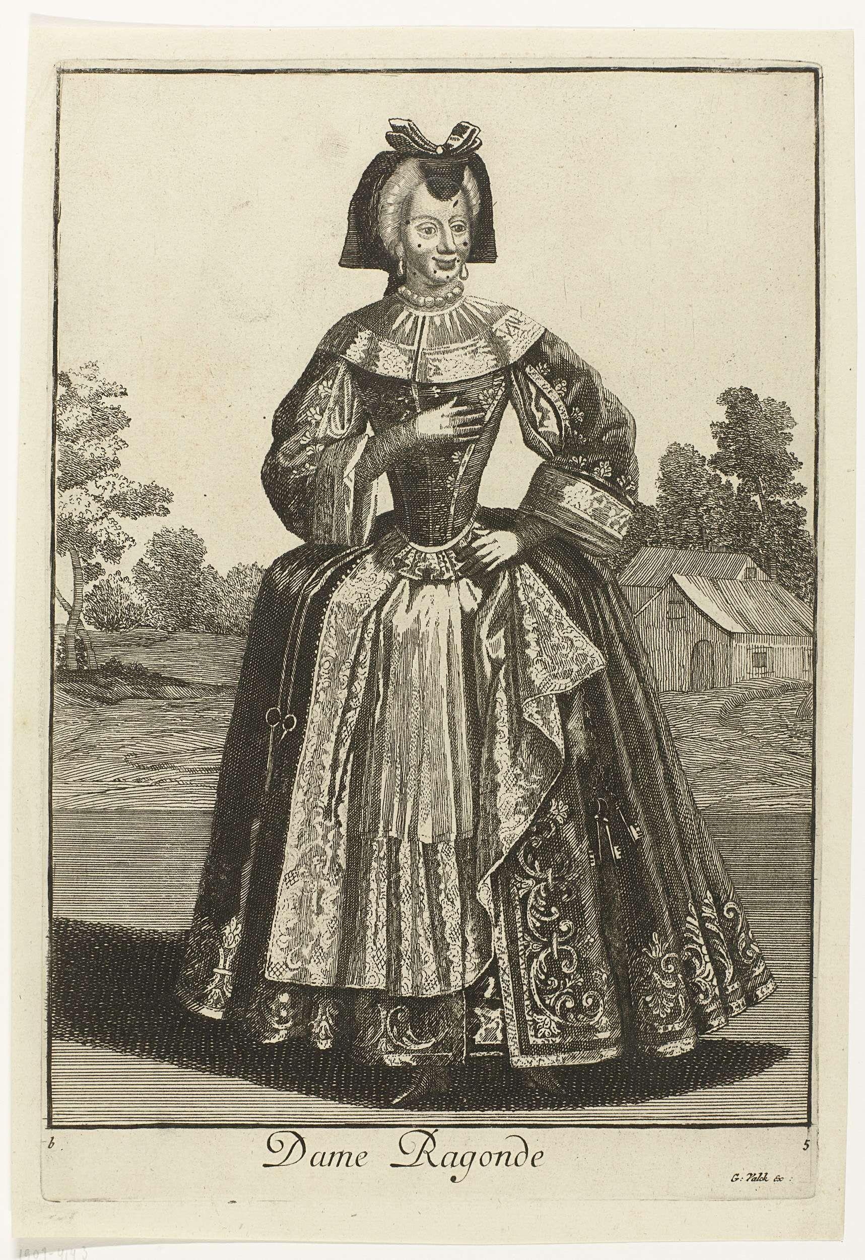 Vrouw met schaar en sleutels aan haar gordel, Gerard Valck, 1694 - 1715
