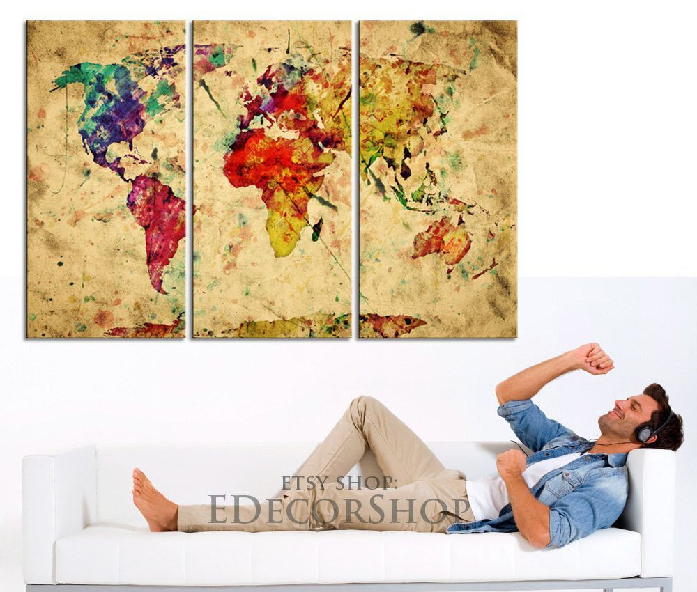 Colorful Retro World Map Canvas Art Print - Vintage World Map Canvas ...