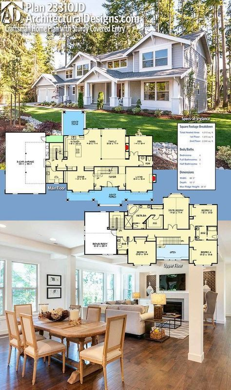 Plan 23310JD: Craftsman Home Plan With Sturdy Covered Entry | Diseños De  Casas, Casas Y Planos