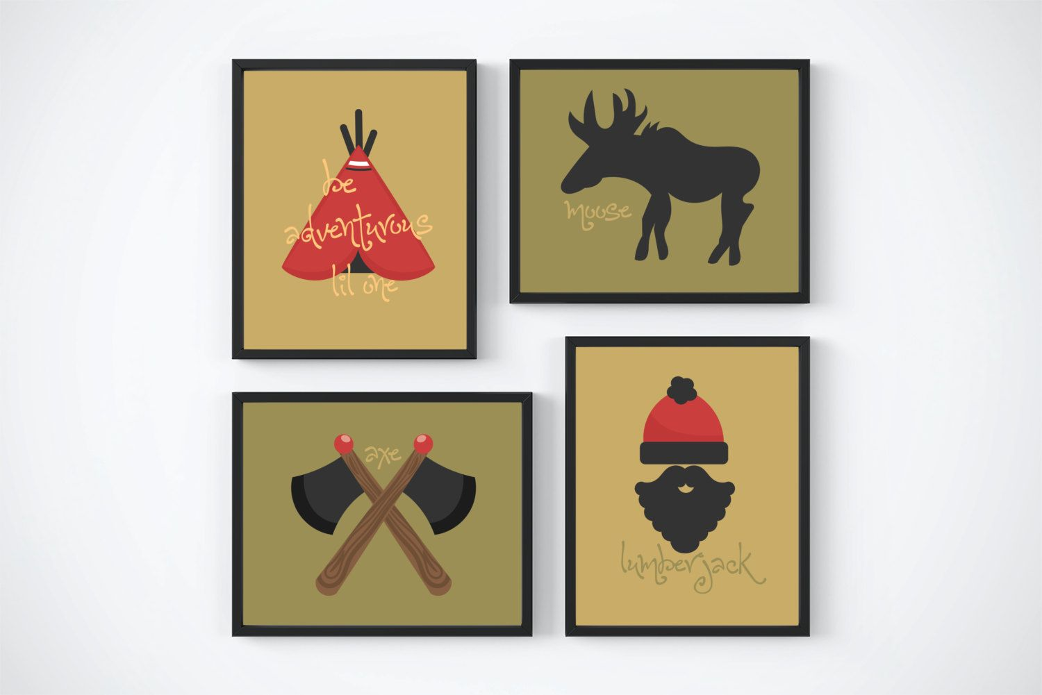 Lumberjack themed wall art for a baby nursery or childs bedroom set