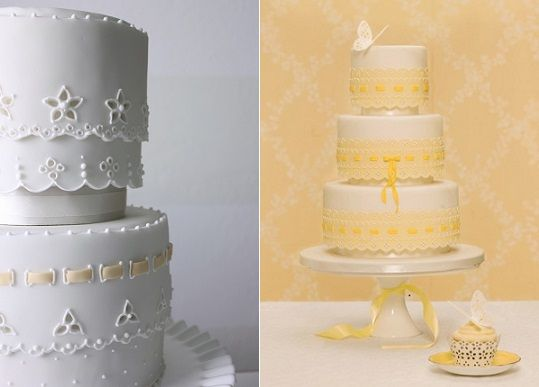 Broderie Anglaise Or Eyelet Lace Wedding Cakes By Petal And Posie Left