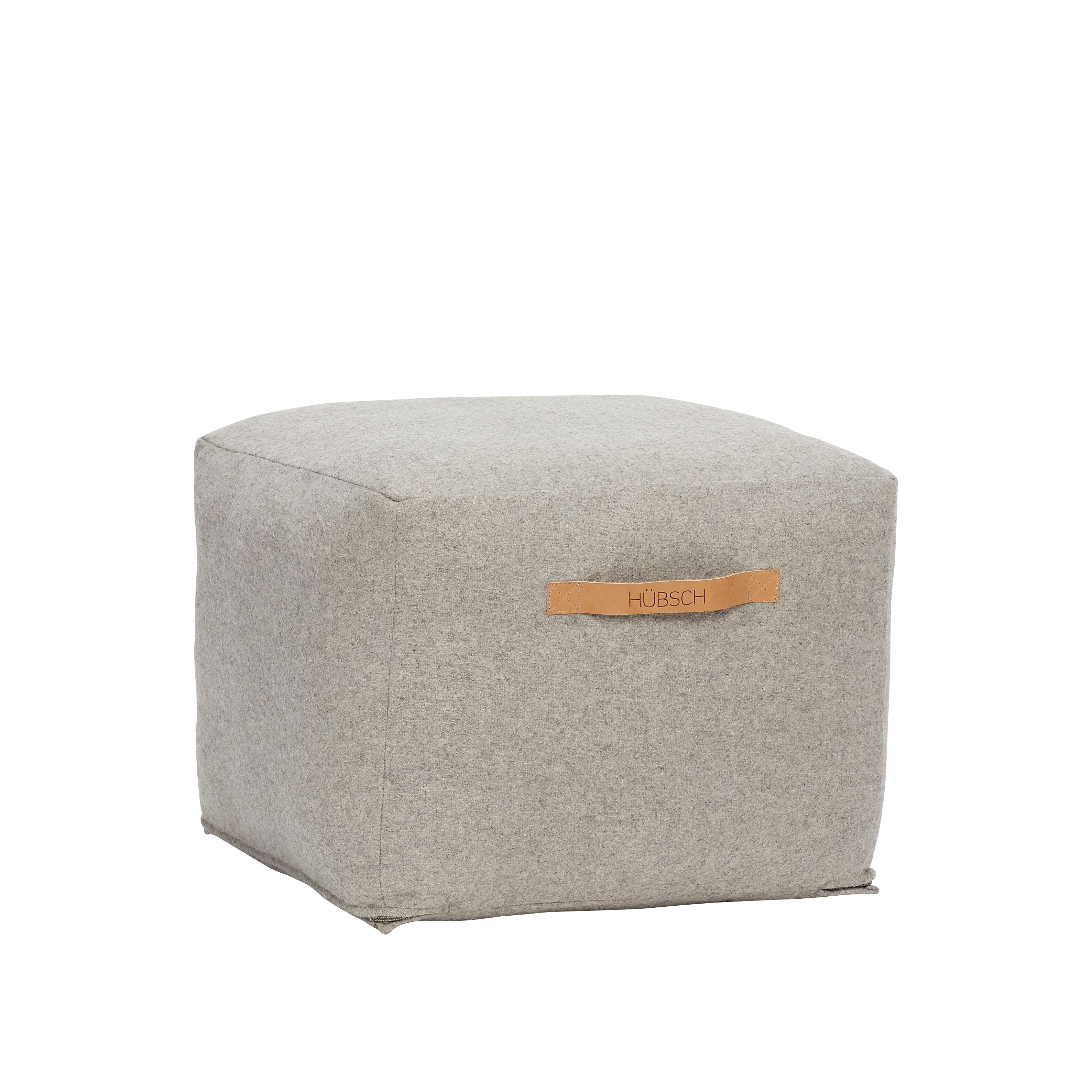 Grey square wool pouf with brown leather