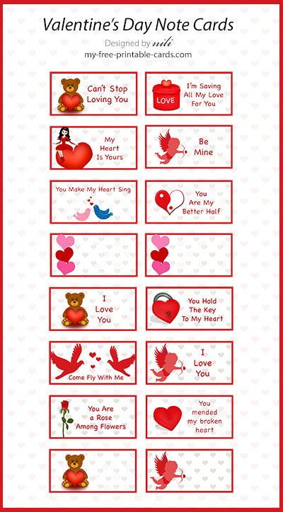 Free Valentine S Day Printables Note Cards At Http Www My Free Printable Cards C Printable Valentines Cards Valentine Notes Printable Valentines Day Cards