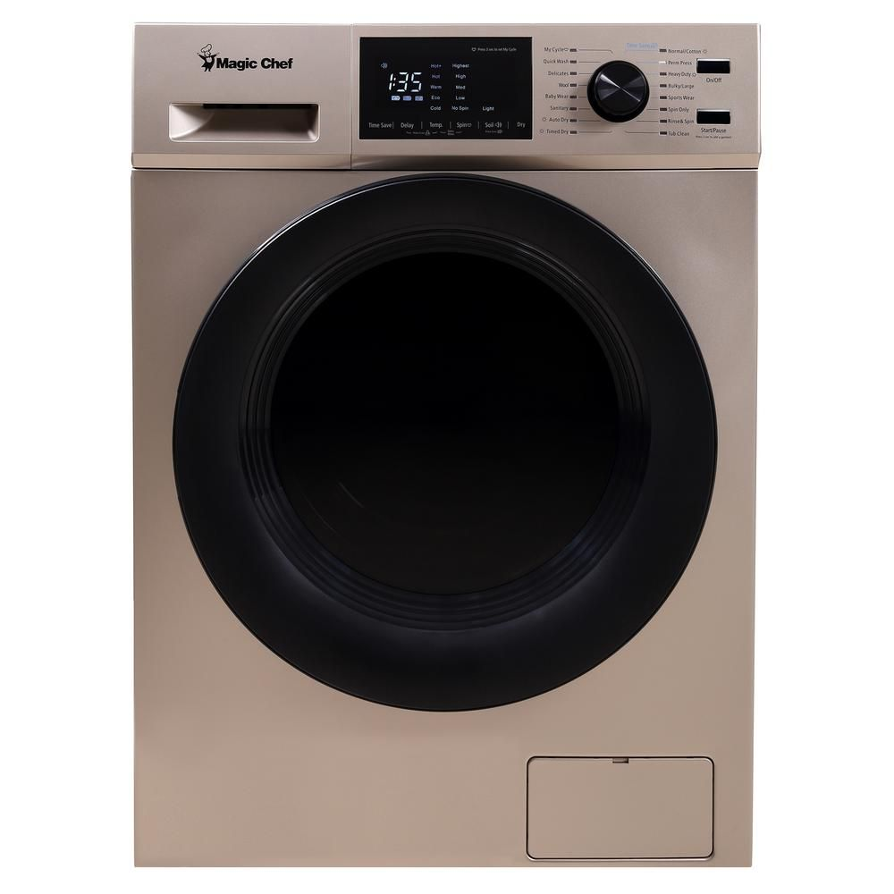 Magic Chef 2 7 Cu Ft 120 Volt Gold All In One Ventless Electric Washer Dryer Combo Mcscwd27g5 The Home Depot In 2020 Washer Dryer Combo Washer And Dryer Electric Washer