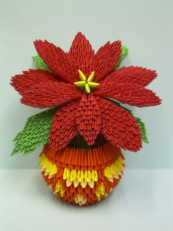 Christmas Origami 3d Poinsettia Origami And Paper Art 3d Origami