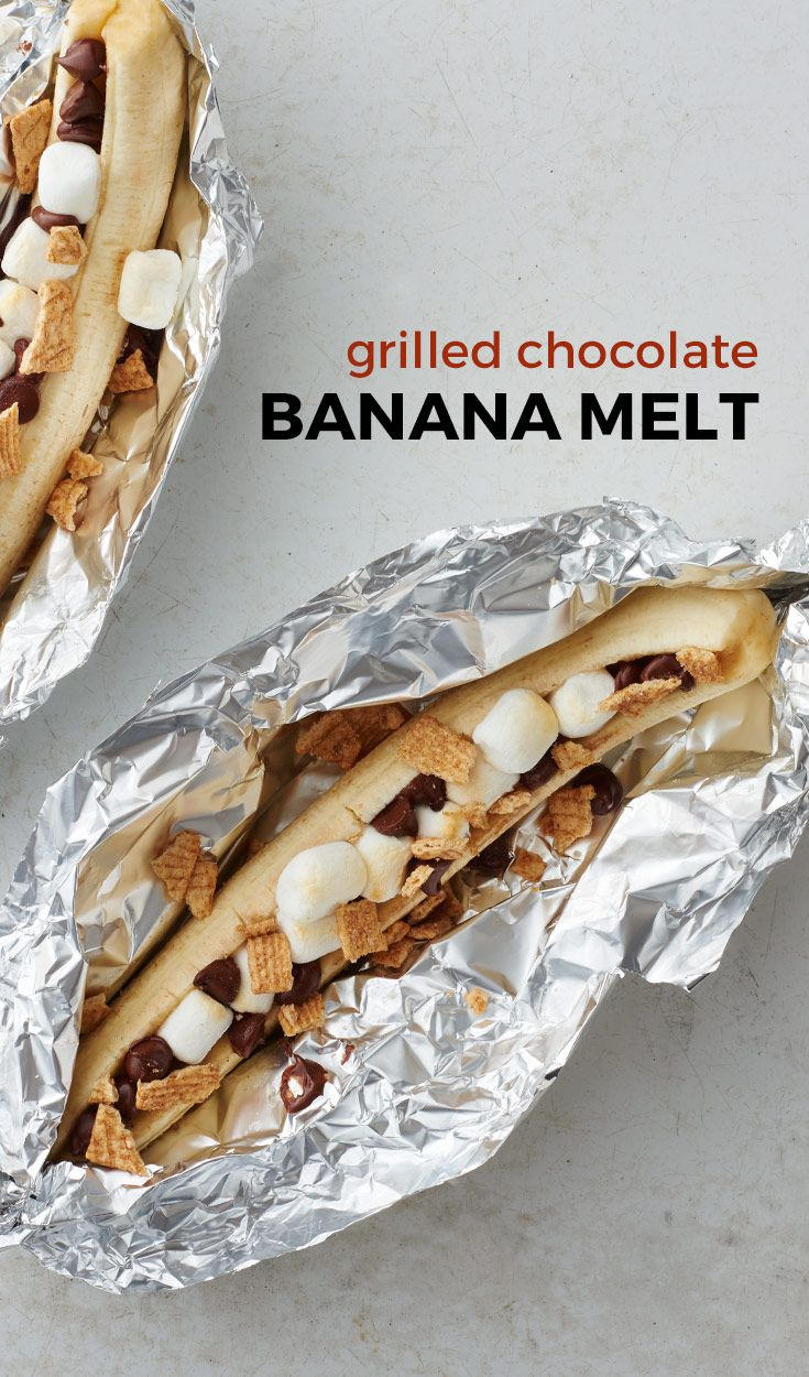 Grilled Chocolate Banana Foil Pack #grilleddesserts