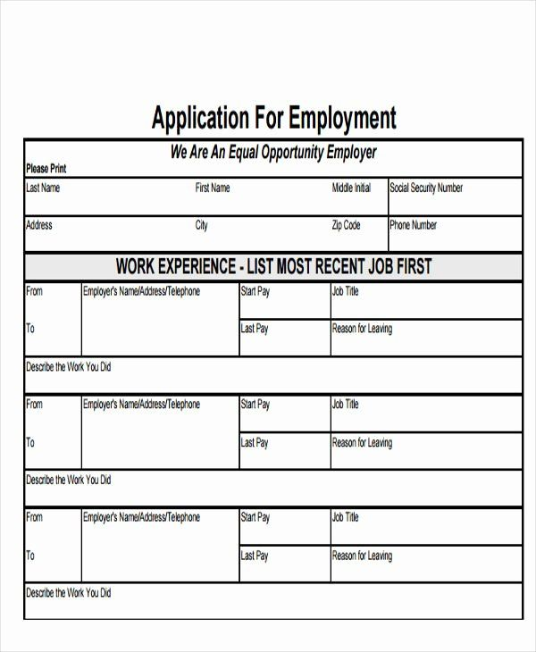 30 Employee Application form Template Free in 2020 Job