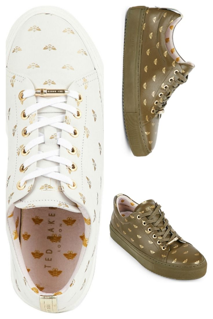 TED BAKER Colour by Numbers bee-embossed leather trainers.