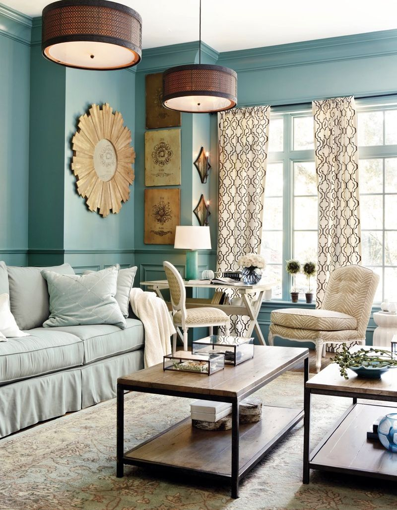 Warm blue living room | paint | Pinterest | Living rooms ...