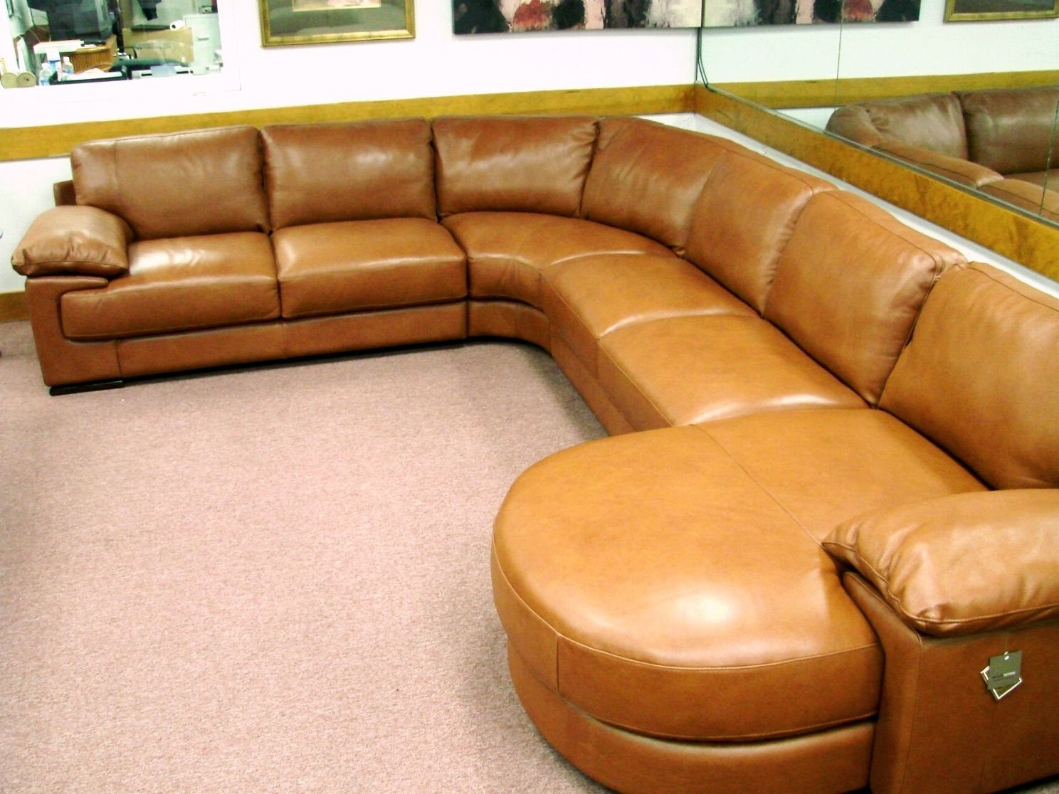 Natuzzi Editions B684 Rust 4 Piece Leather Sectional. Butter Soft Leather.  Padded Arms.