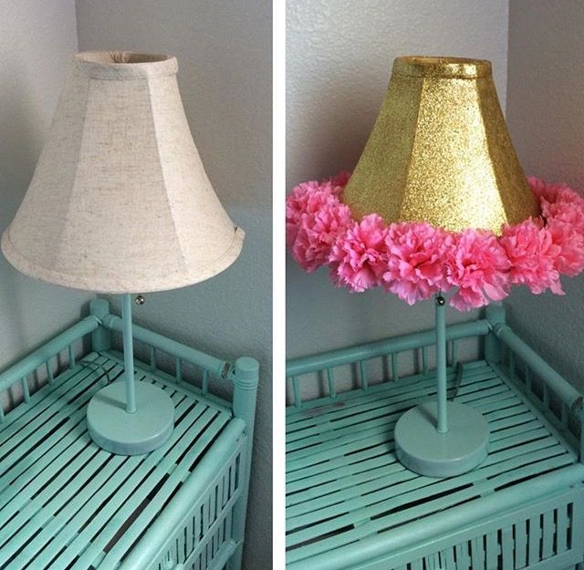 Before after diy lamp shade makeover martha stewart glitter before after diy lamp shade makeover martha stewart glitter acrylic paint is amazing aloadofball