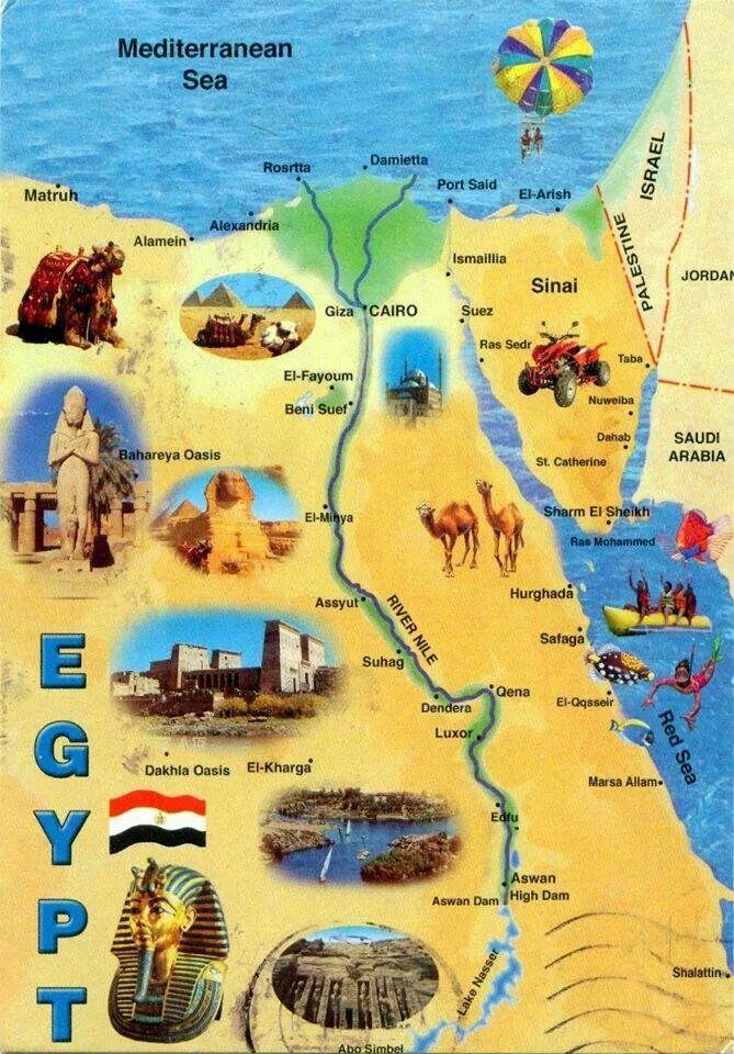 Egyptian Map Egypt Map Great Pyramid Of Giza Egypt Tourism