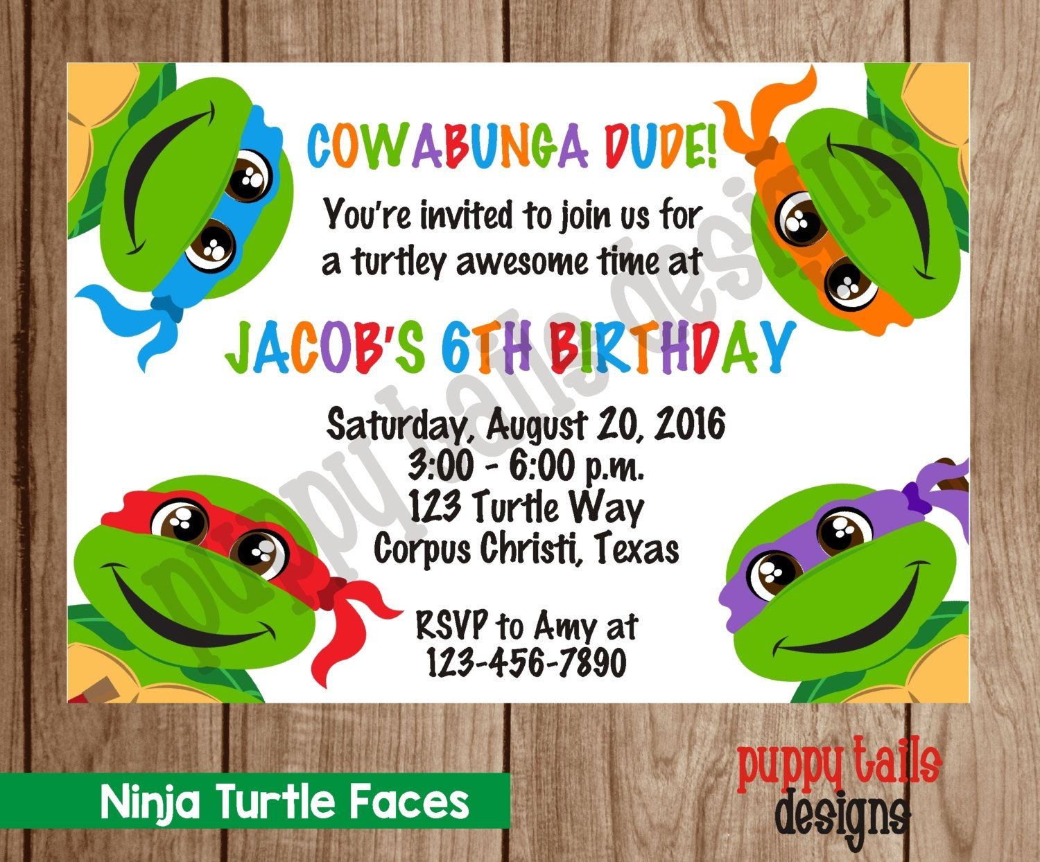 Custom Printed Ninja Turtle Birthday Party, Baby Shower Invitations ...