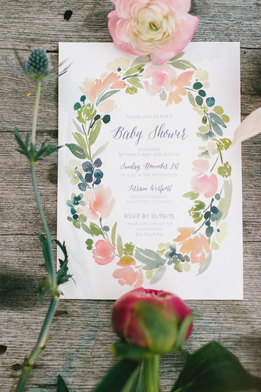 Floral Baby Shower Baby Shower Invite Floral