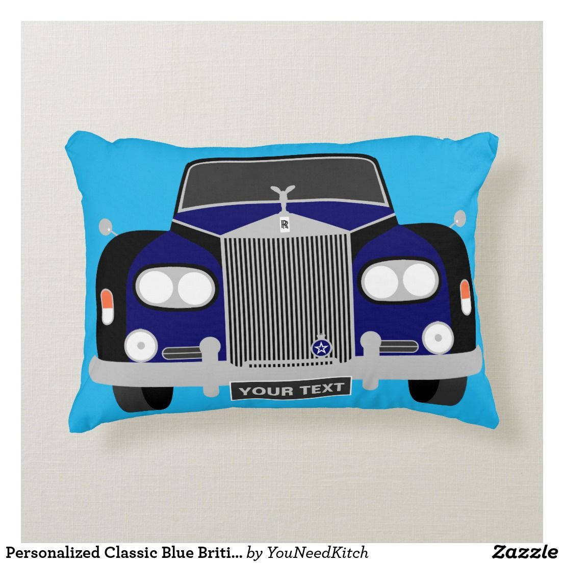 Personalized Classic Blue British Limousine Car Decorative Pillow