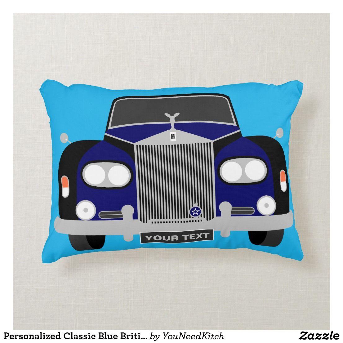 Personalized Classic Blue British Limousine Car Decorative Pillow