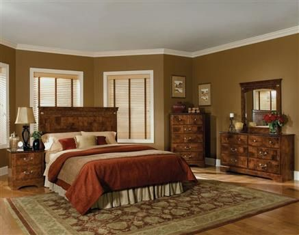 San Miguel Oak Olive Ash Burl Bedroom Set Master Bedrooms - Italian Bedroom Sets