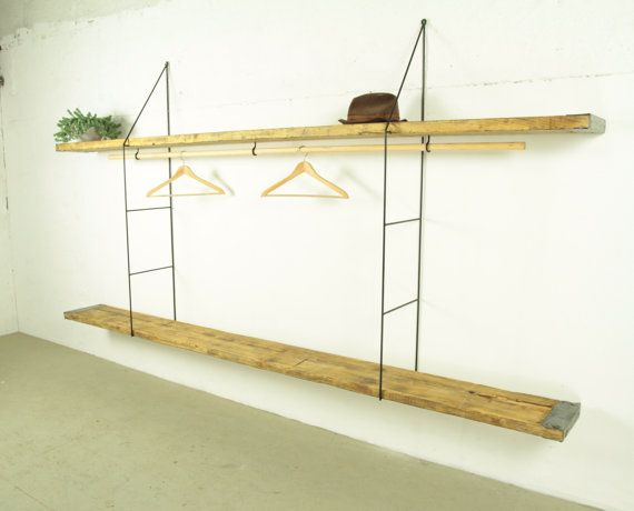 reclaimed wood shelves industrial shelving with thin metal shelf bracket string regal shelves. Black Bedroom Furniture Sets. Home Design Ideas