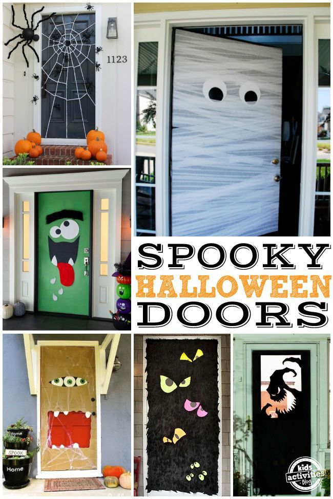 15 Fun Halloween Front Door Decorations You Can Do At Your House #halloweendoordecorations