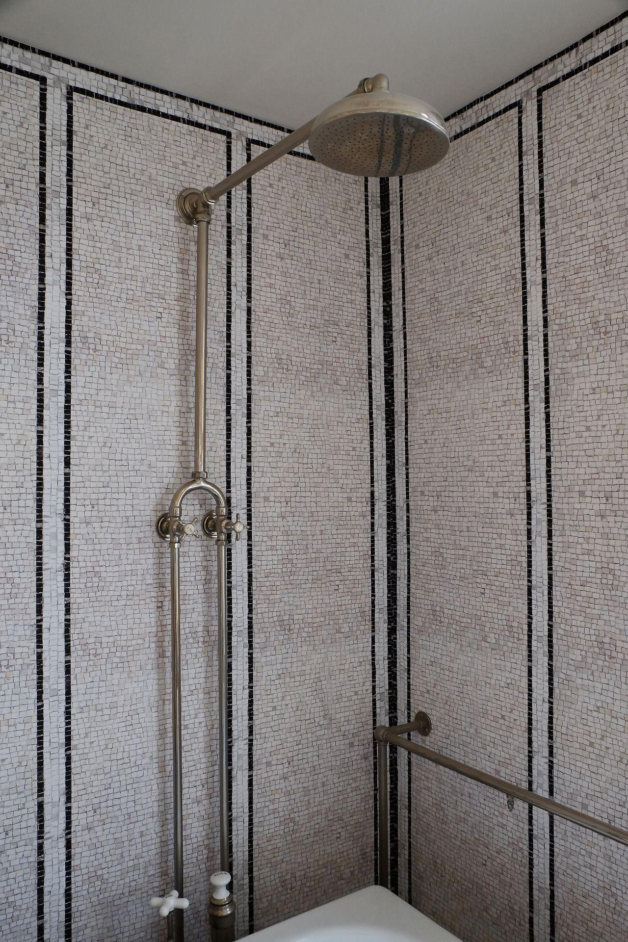 VESPER INTERIOR : Black and White Mosaic tile shower. | Design ...