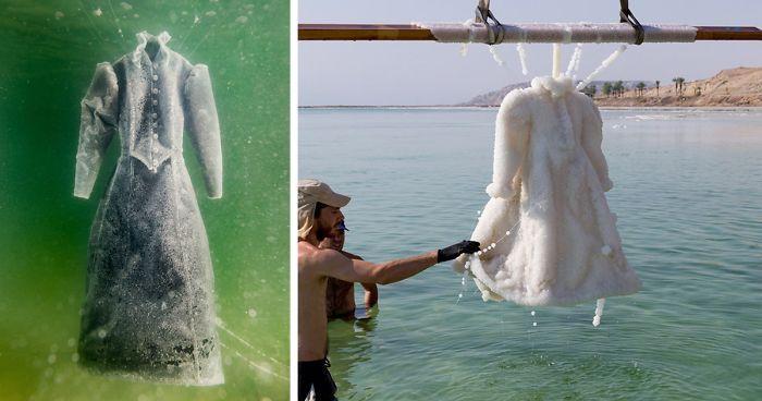 Black dress in dead sea salt