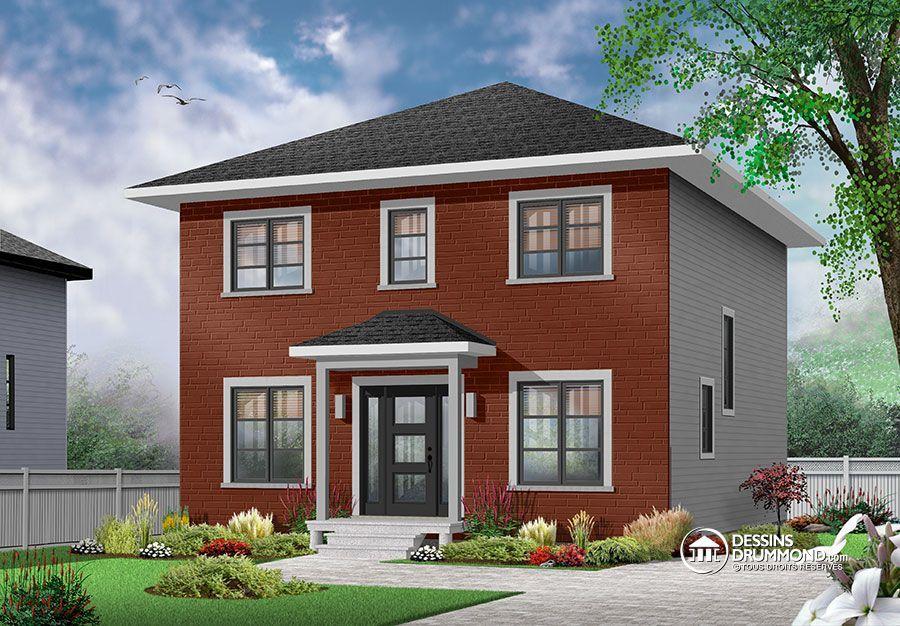 Détail du plan de Maison unifamiliale W3716-V1 Maison Pinterest