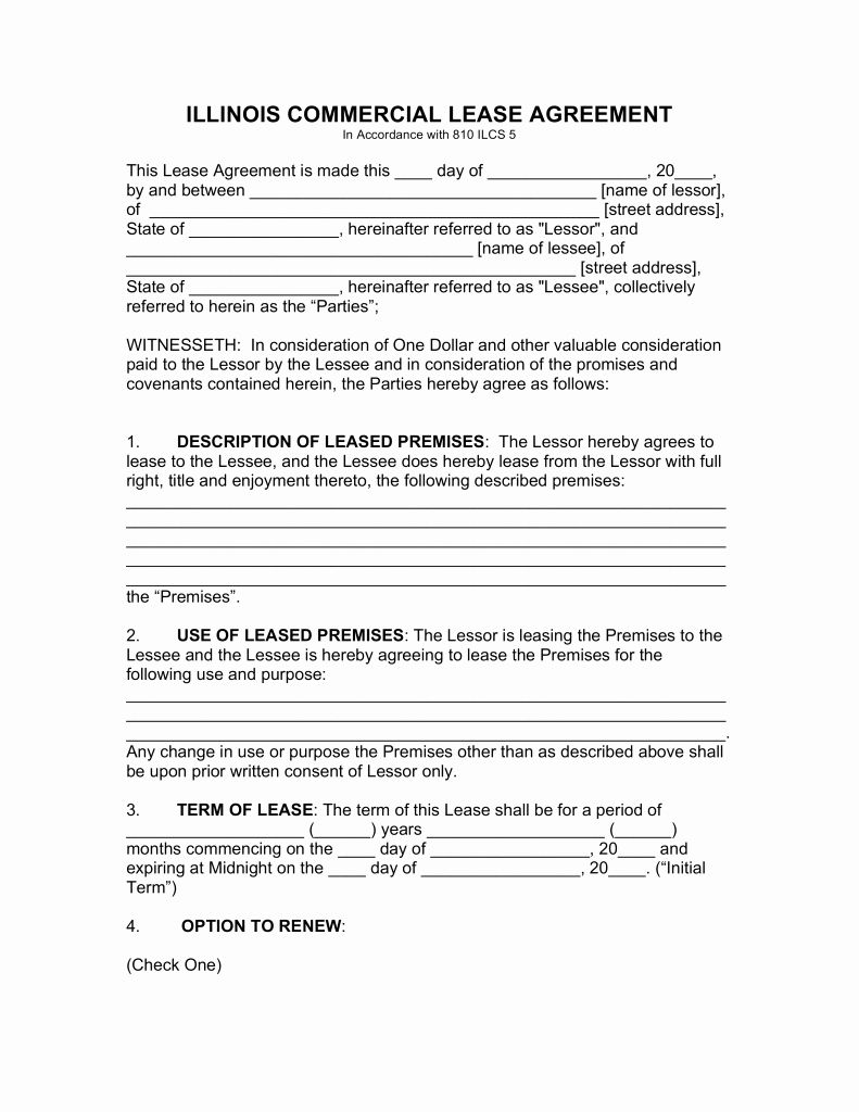 Free Printable Commercial Lease Agreement Fresh Free Illinois Mercial Lease Agreement Template Pdf Rental Agreement Templates Lease Agreement Contract Template