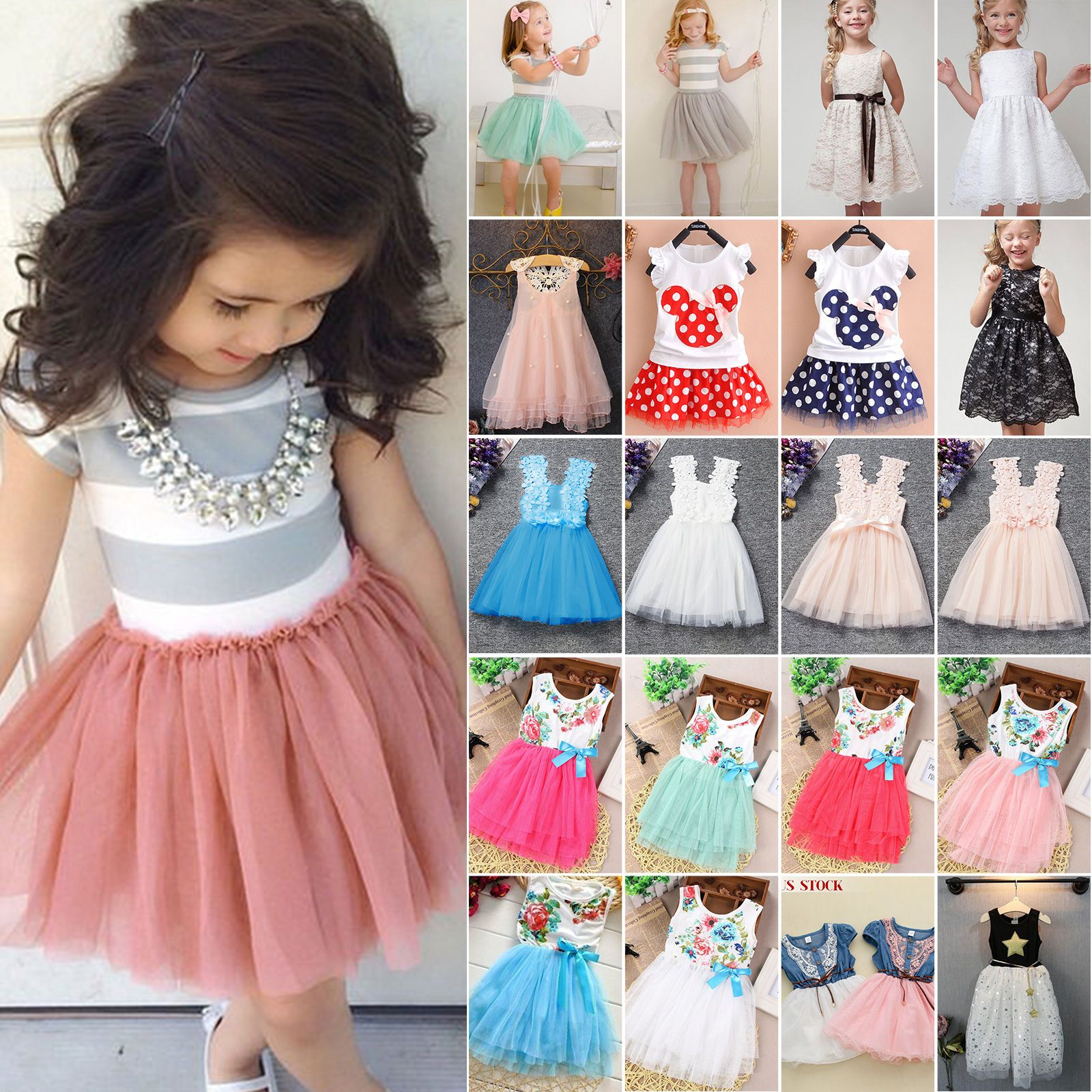 9cfe89cc1 US Toddler Girl Princess Dress Kid Baby Party Wedding Pageant Tulle ...