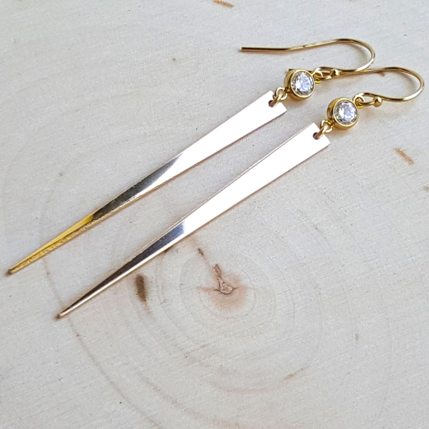 Gold Filled Spike Earrings with Cubic Zirconia by MissEleniousBoutique on Etsy