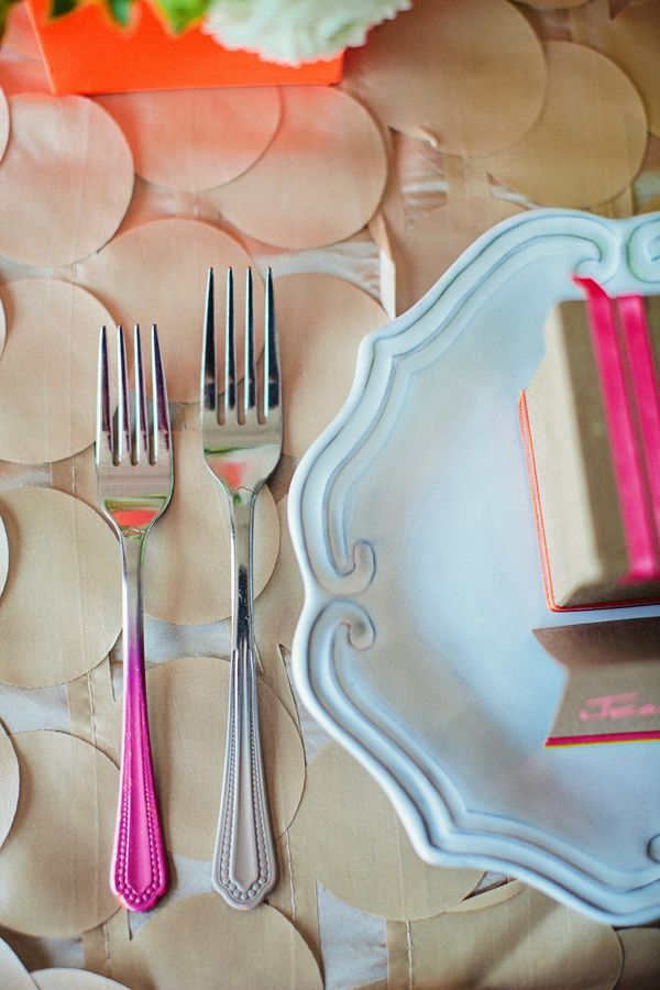 Neon dipped forks.