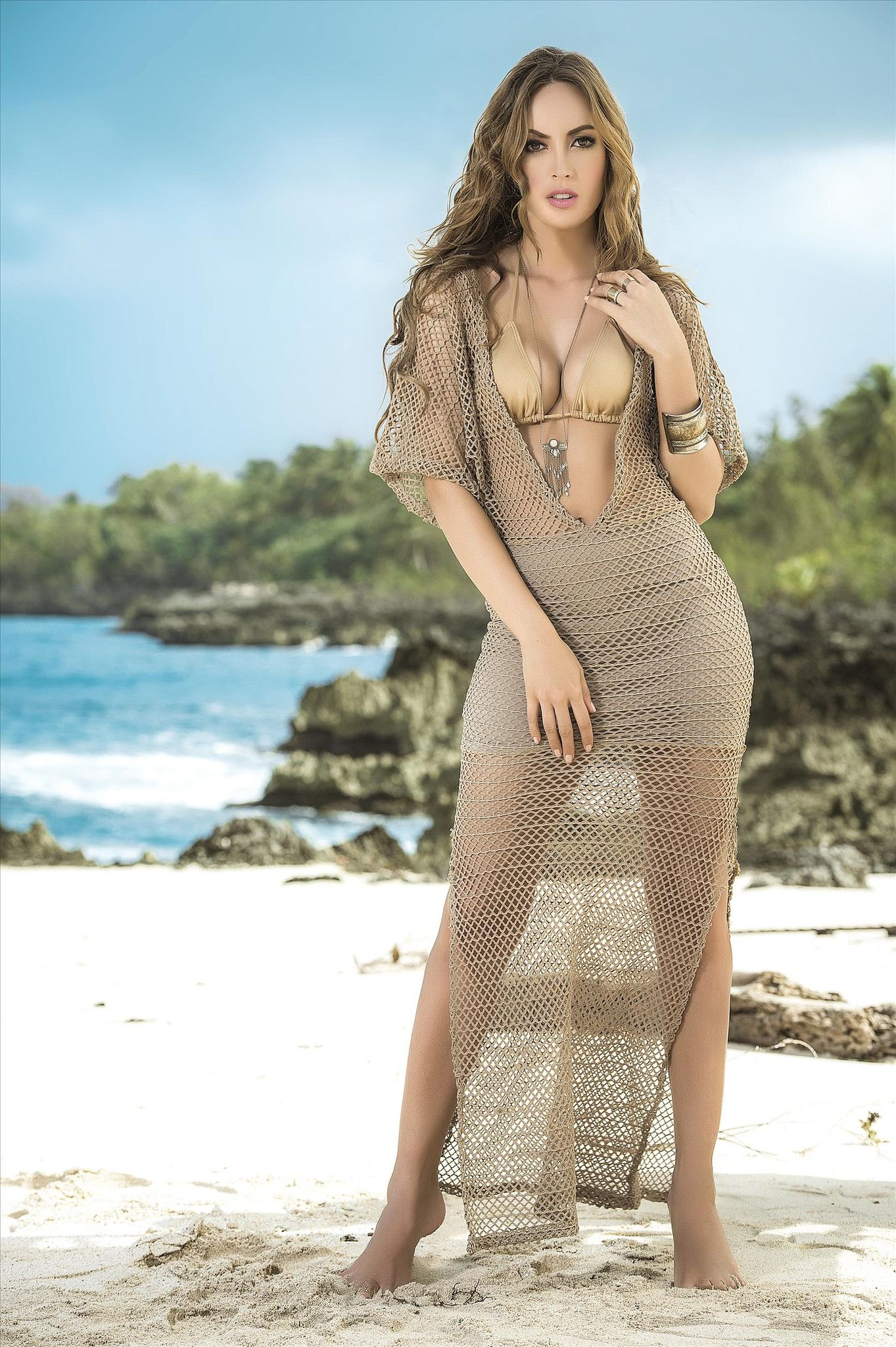 449bc84095 Fun and Sexy Mocha Crochet Maxi Dress Cover-up Beach Dress - SoHot Swimwear  - Cover-Ups - Mapale - 1