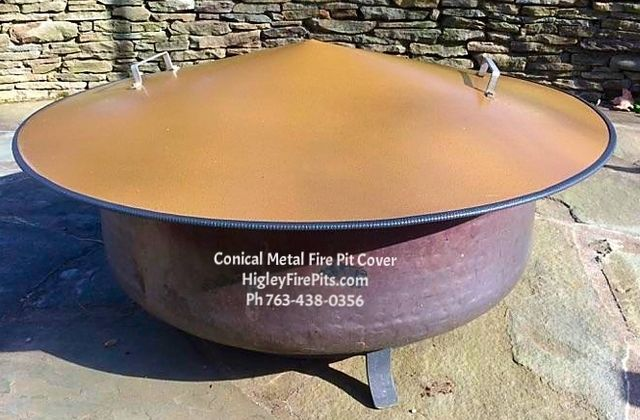 Metal Conical Dome Shaped Fire Pit Cover Snuff Cover Keeps Rain Debris Snow Out Www Higleyfirepits Com Metal Fire Pit Gas Fire Pit Table Gas Fire Pit Kit