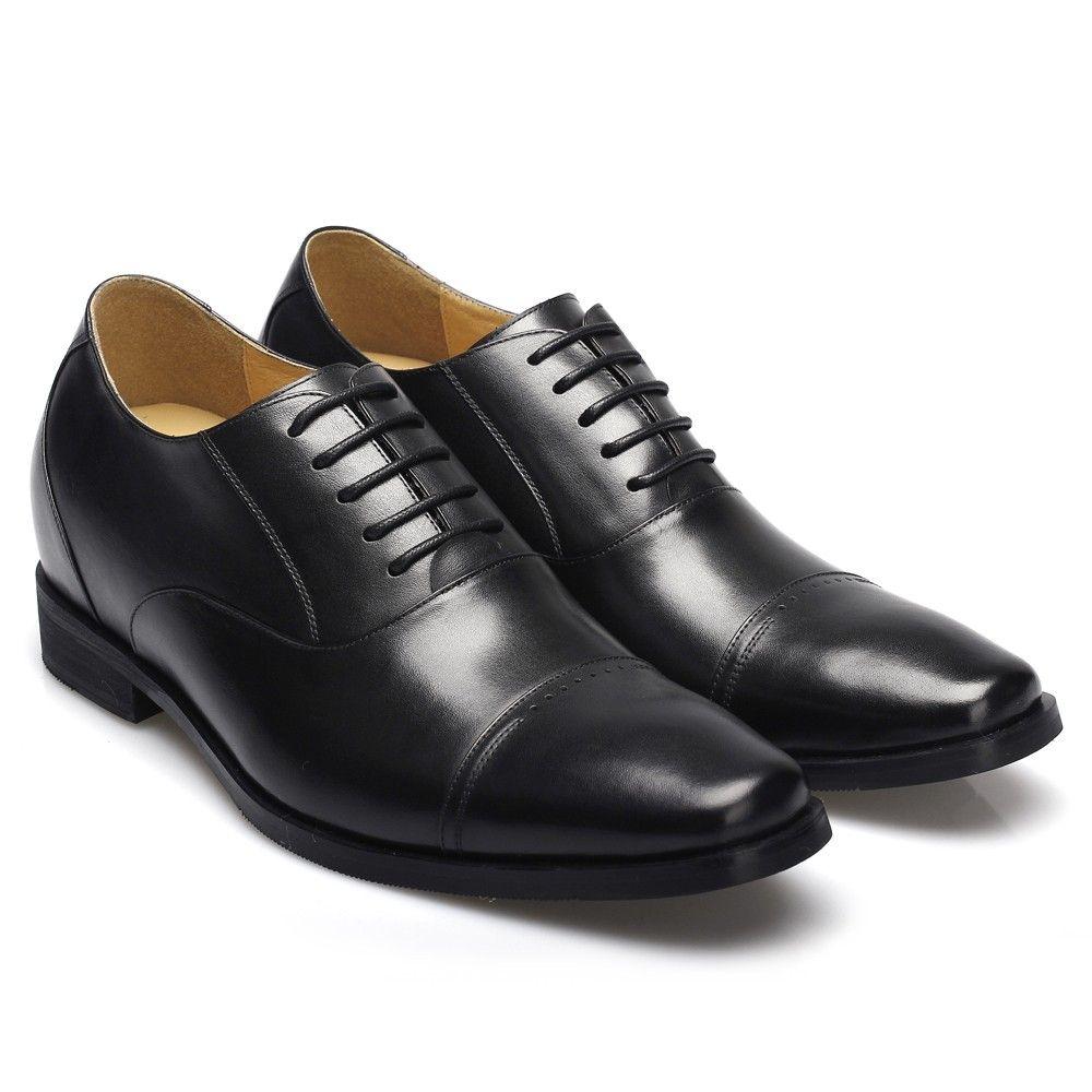 Chamaripa 2.76 inch Calfskin Leather Dress Shoes Black increase ...