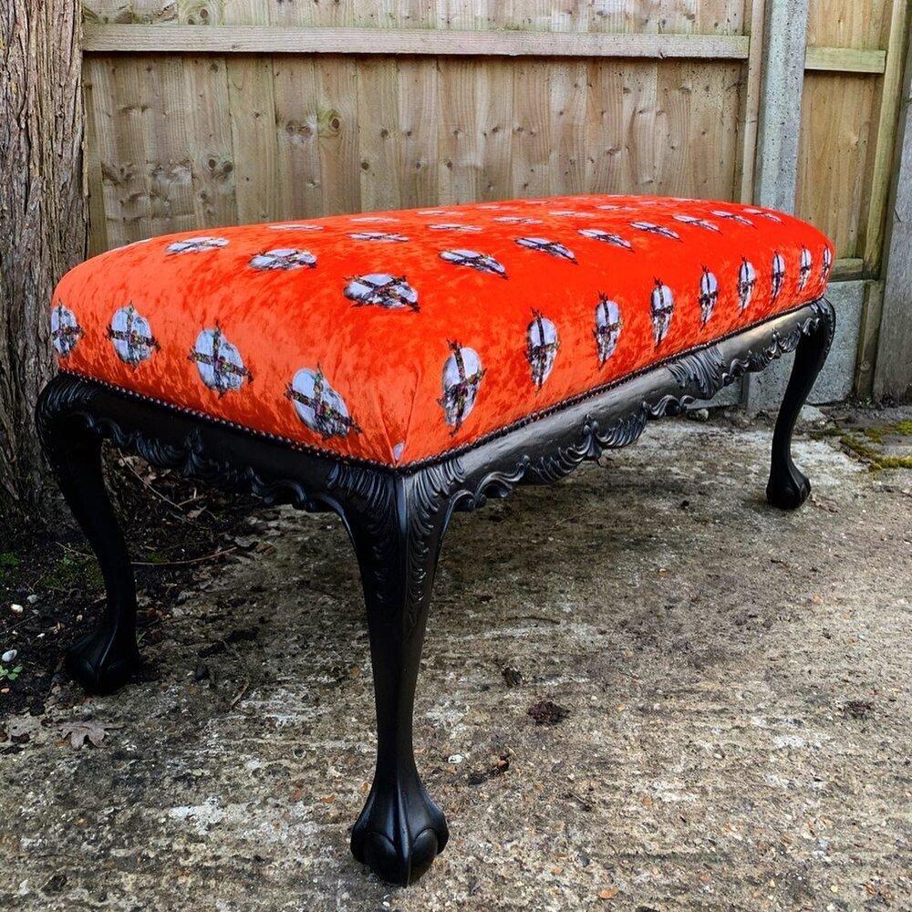 Photo of Furniture Art – Vibrant Orange Velvet Bench Stool by Emily Penfold