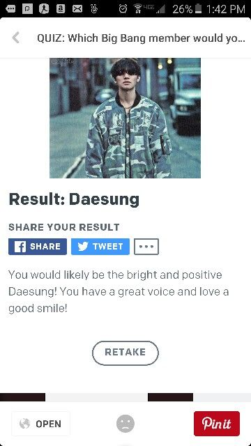 My results on which Bigbang member are you. Got Daesung❤ 3 times.