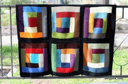 Log Cabin Scrap Blanket - v e r y p i n k . c o m - knitting ...