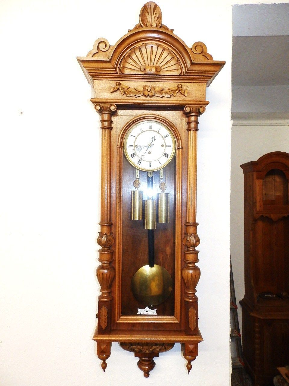 Very Nice Old 3 Weight Grand Sonnerie Wall Clock 1880 1900 Clock Wall Clock Antique Wall Clock