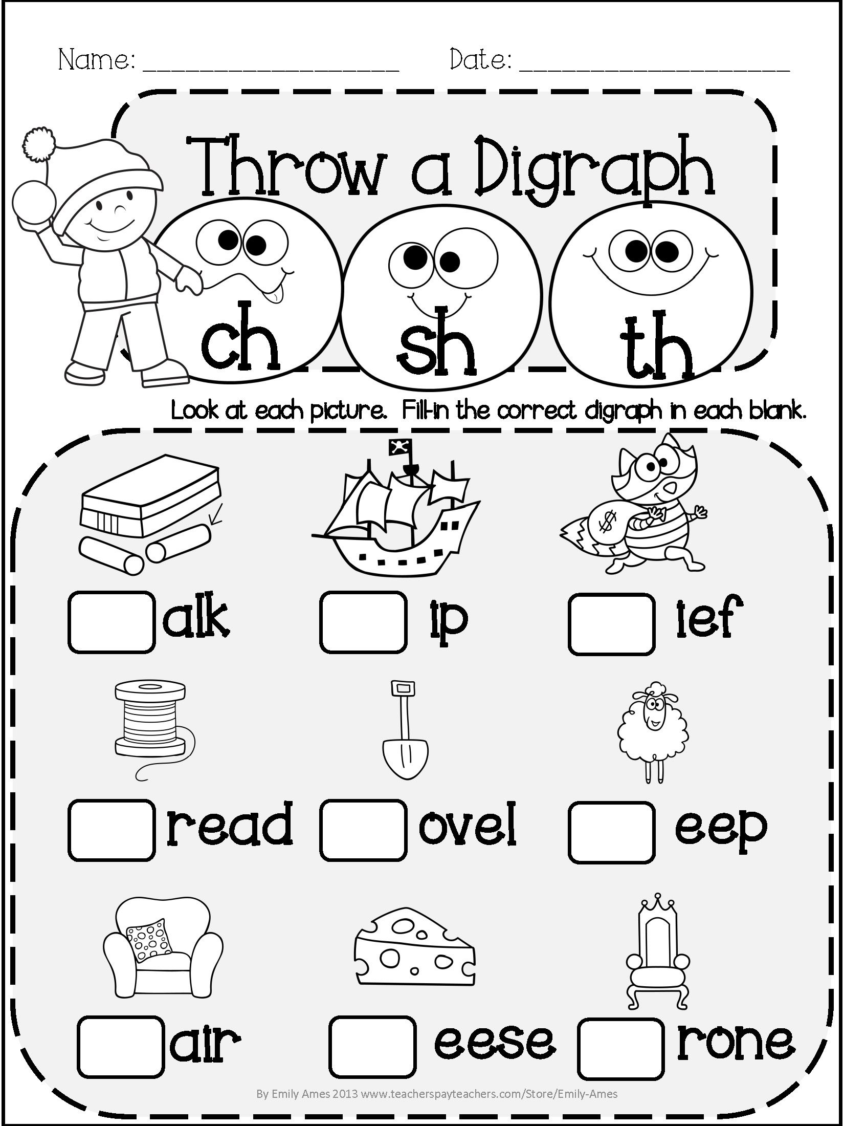 worksheet Th Digraph Worksheets winter literacy fun short long vowels digraphs and blends differentiated